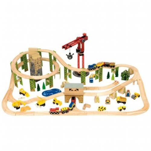 Bigjigs Toys Dřevěná vysutá vláčkodráha se stavebními stroji cena od 3199 Kč