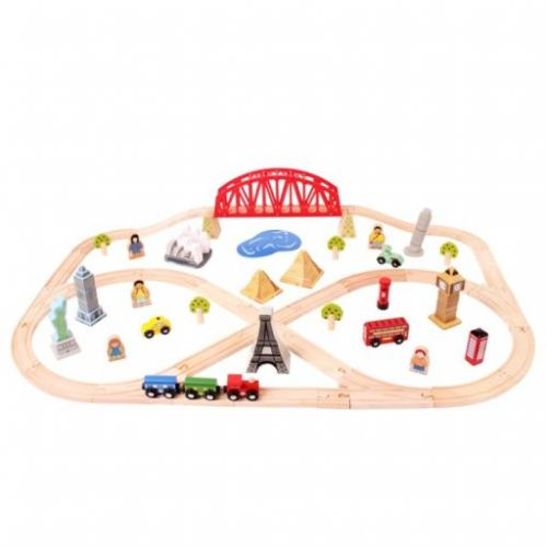 Bigjigs Toys Dřevěná vláčkodráha cesta kolem světa cena od 1565 Kč