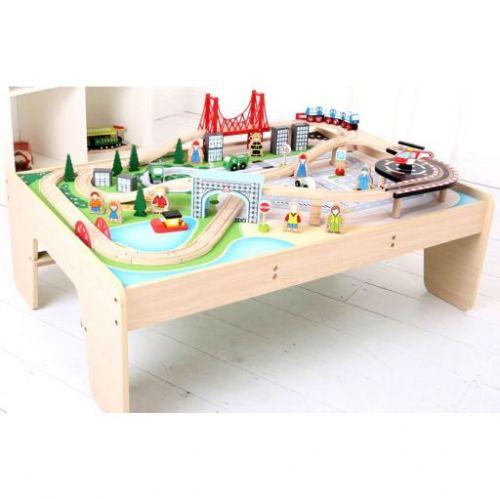 Bigjigs Toys Dřevěná vláčkodráha se stolem cena od 3390 Kč