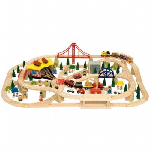 Bigjigs Toys Dřevěná dvouúrovňová dopravní vláčkodráha cena od 3199 Kč