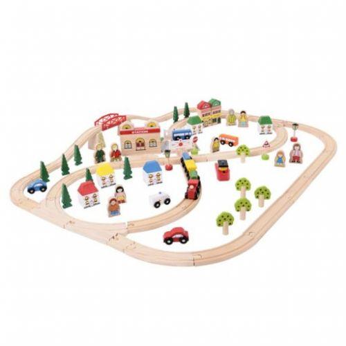 Bigjigs Toys Dřevěná vláčkodráha Město a vesnice cena od 1660 Kč