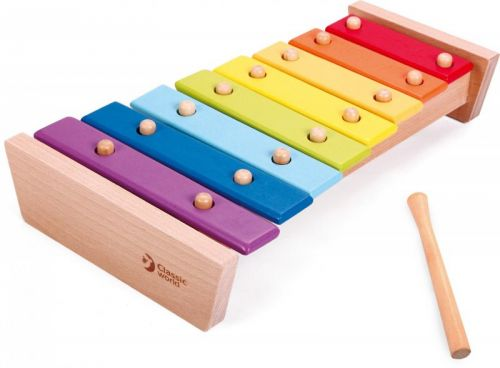 Teddies Xylofon duhový dřevo s paličkou