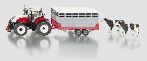 SIKU Farmer traktor Steyr s vlekem na přepravu zvířat + 2 krávy cena od 1259 Kč