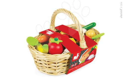 JANOD Dřevěná zelenina&ovoce v proutěném košíku