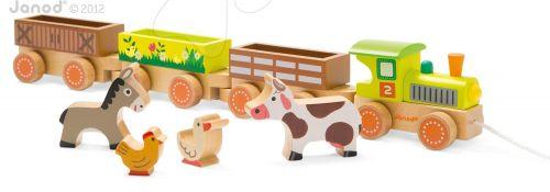 JANOD Story Set dřevěný farmářský vlak se zvířátky cena od 889 Kč