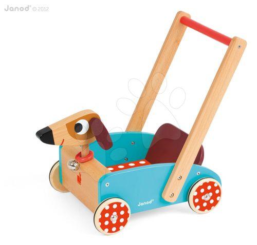 JANOD Veselý pes se zvukem dřevěný vozík