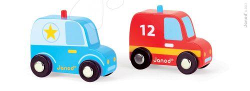 JANOD Set dřevěné auto policie a hasiči cena od 239 Kč