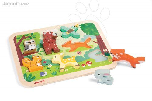 JANOD Lesní zvířata CHUNKY dřevěné puzzle pro nejmenší cena od 469 Kč