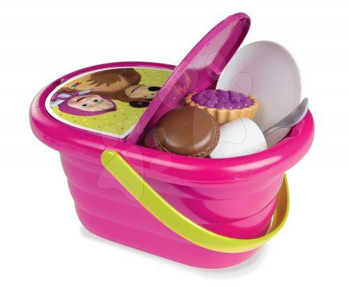 SMOBY Piknikový košík Máša a Medvěd s nádobím a doplňky cena od 369 Kč