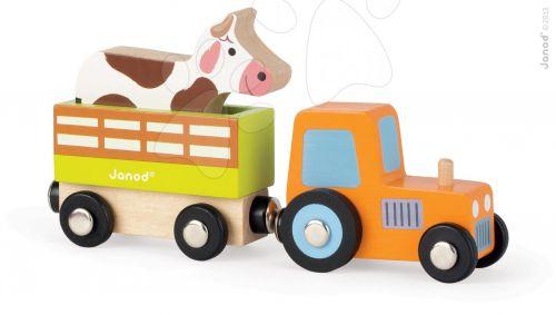 JANOD Story Set dřevěný magnetický traktor s kravičkou cena od 0 Kč