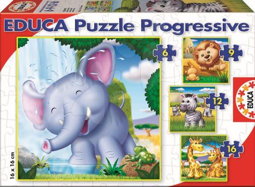 EDUCA Progressive Wild Animals 16, 12, 9, 6 dílků cena od 150 Kč