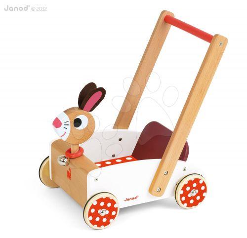 JANOD Dřevěný vozík Veselý zajíc se zvukem