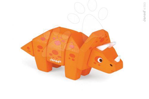 JANOD Dřevěné skládací zvířátko DINO Triceratops