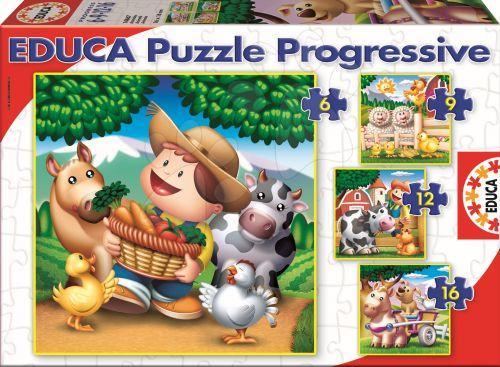 EDUCA Progressive Zvířata na farmě 16, 12, 9, 6 dílků cena od 150 Kč
