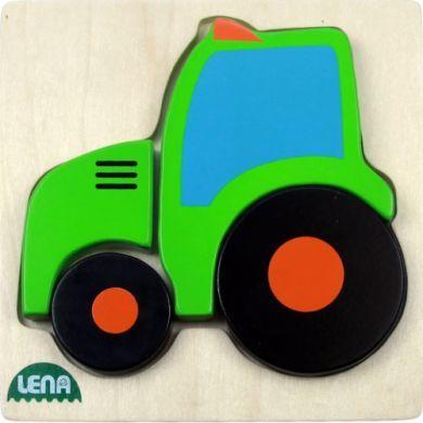 LENA Dřevěné puzzle traktor 4 díly cena od 105 Kč