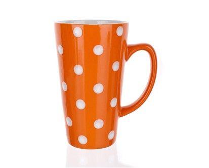 BANQUET Hrnek vysoký oranžový s puntíky cena od 54 Kč