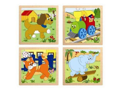 WOODY Puzzle ze 4 dílů Mašinka cena od 73 Kč