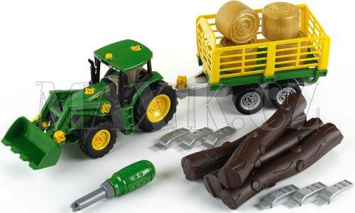 Klein John Deere Traktor s přívěsem na dřevo a seno cena od 888 Kč