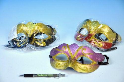 TEDDIES Maska škraboška karnevalová plast 17 cm cena od 13 Kč