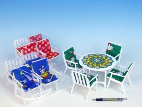MIKRO TRADING Nábytek pro panenky stůl + 4 židle se sedáky