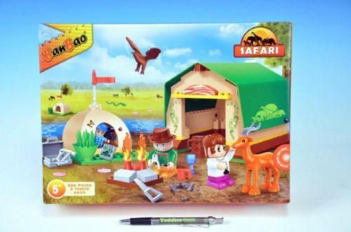MIKRO TRADING Stavebnice BanBao Safari Stan s tábořištěm + 3 figurky