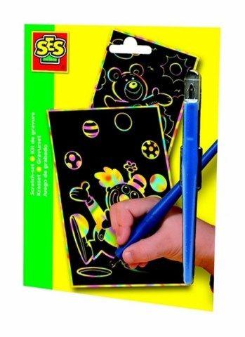 SES Vyškrabávací duhové obrázky s perem,klaun,medvěd cena od 79 Kč