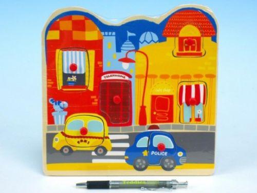 MIKRO TRADING Vkládačka auta ve městě dřevo 22,5x22,5 cm cena od 65 Kč