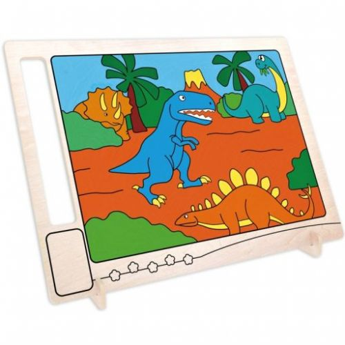 RoboTime Dřevěná oboustranná omalovánka Dinosauři cena od 0 Kč