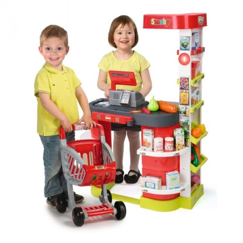 SMOBY Obchod City shops čtečkou karet a vozíkem 350204 cena od 0 Kč