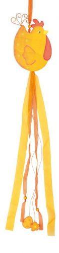 Slepička dřevěná s mašlemi oranžová 80 cm