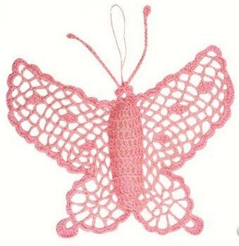 Háčkovaný motýl velký růžový 16 cm