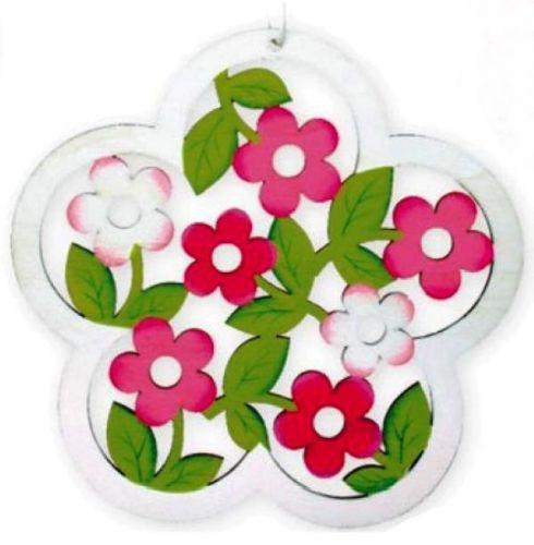 Květ vyřezávaný bílý na zavěšení 18 cm