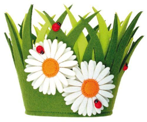 Dekorační květináč z filcu 18 x 15 cm