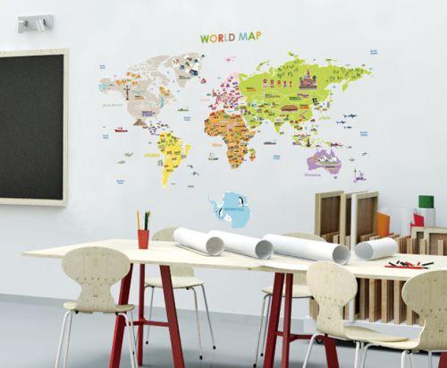 Ambiance Velká mapa světa samolepky