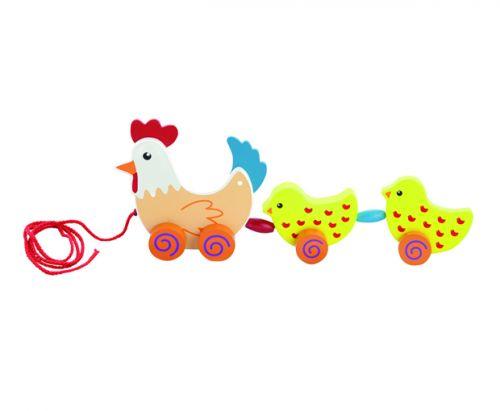 ANDREU Toys Tahací slepička s kuřátky