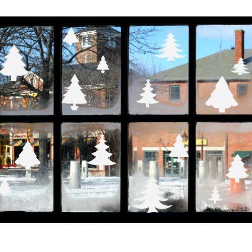 Ambiance Bílé vánoční stromečky samolepky