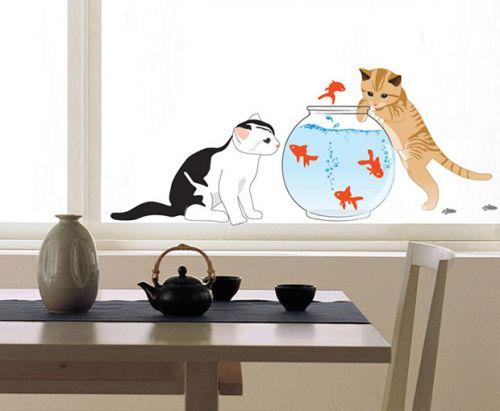 Ambiance Kočky a akvárko samolepky