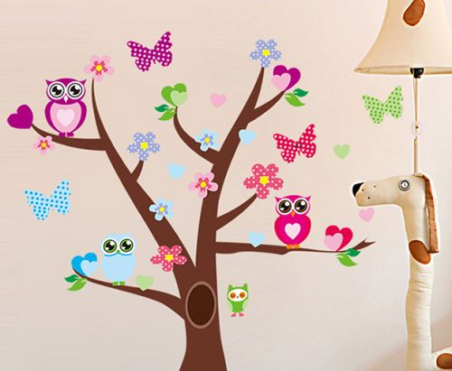Ambiance Sovy a strom samolepky