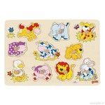 Goki Puzzle s dřevěnými úchytkami Mláďata zvířat II cena od 210 Kč