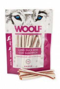 Woolf snack pochoutka soft duck and cod sandwich long 100 g