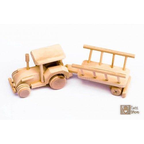 ČistéDřevo Dřevěný traktor s vlečkou H026 cena od 199 Kč