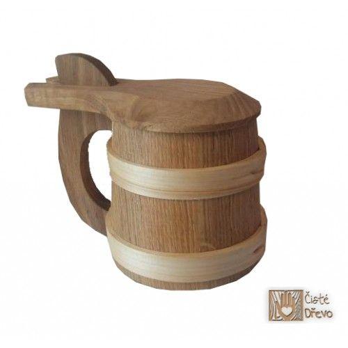 ČistéDřevo Dřevěný korbel s víkem Exlusive cena od 486 Kč
