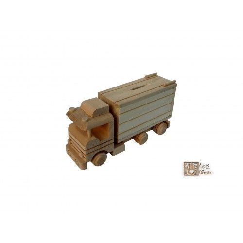 ČistéDřevo Dřevěný kamion pokladnička H009