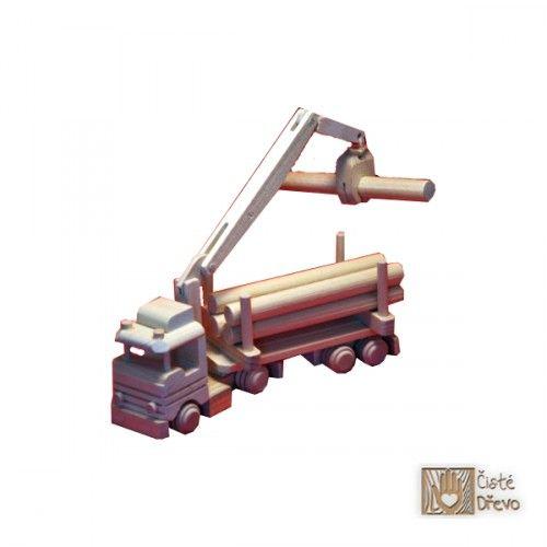ČistéDřevo Dřevěné nákladní auto s jeřábem H023 cena od 299 Kč