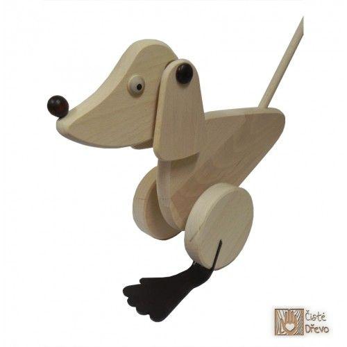 ČistéDřevo Tlačící hračka pejsek H015