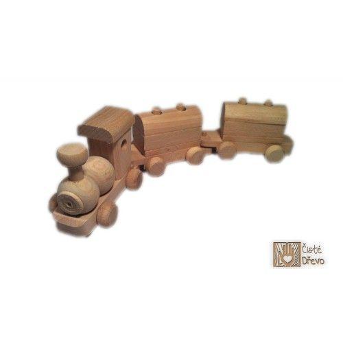 ČistéDřevo Dřevěný vláček s vagóny H024