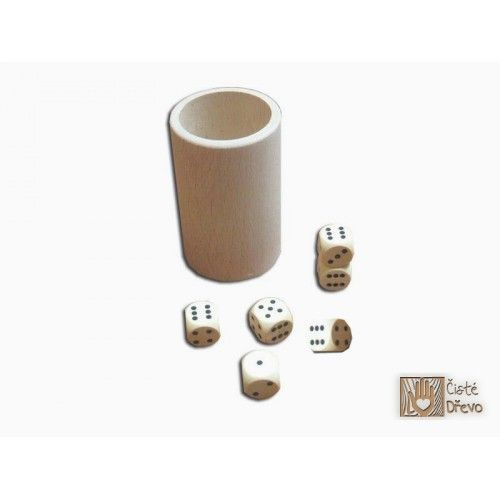 ČistéDřevo Hrací kostky 6 ks s kelímkem H025
