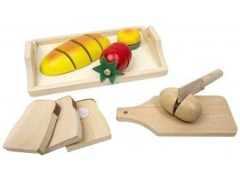 Glow2B Spielwaren Dřevěný podnos s chlebem a zeleninou