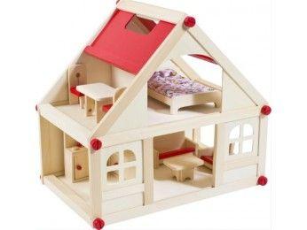 Glow2B Spielwaren Dřevěný domeček pro panenky