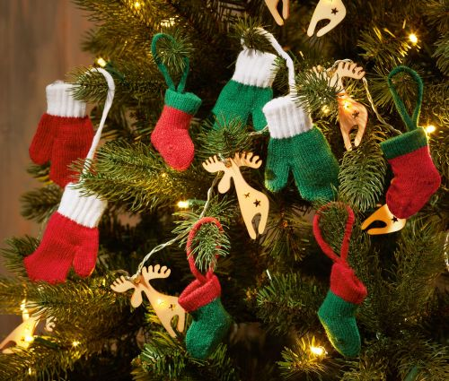 Vánoční ozdoby na stromeček - pletené palčáky